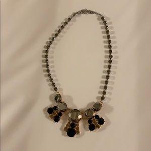 Fossil Black Grey Stone Statement Necklace